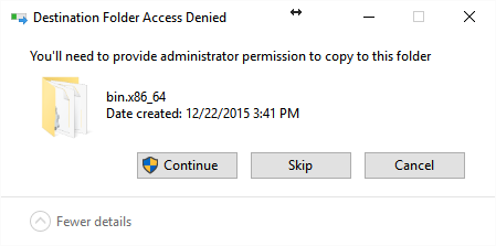 Request for administrator permission in Windows